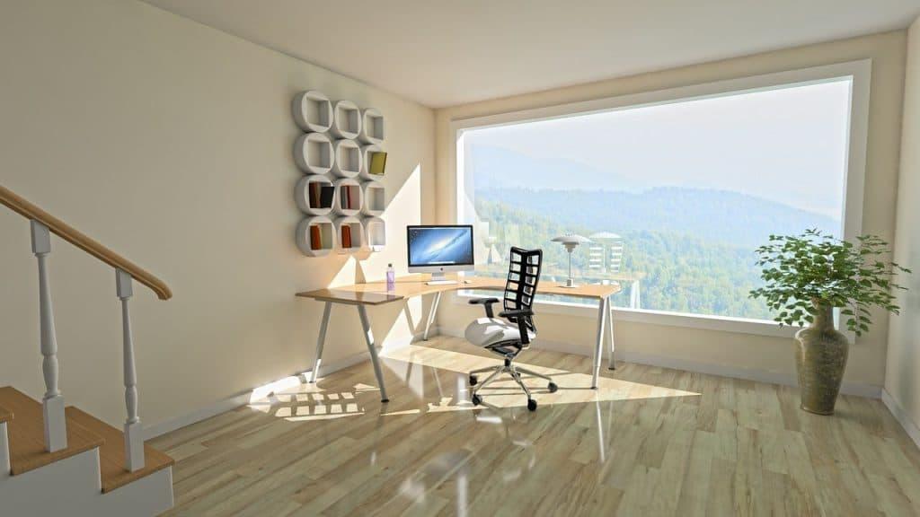minimalistische werkplek werkruimte uitzicht open