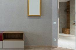 Muur met houten vloer